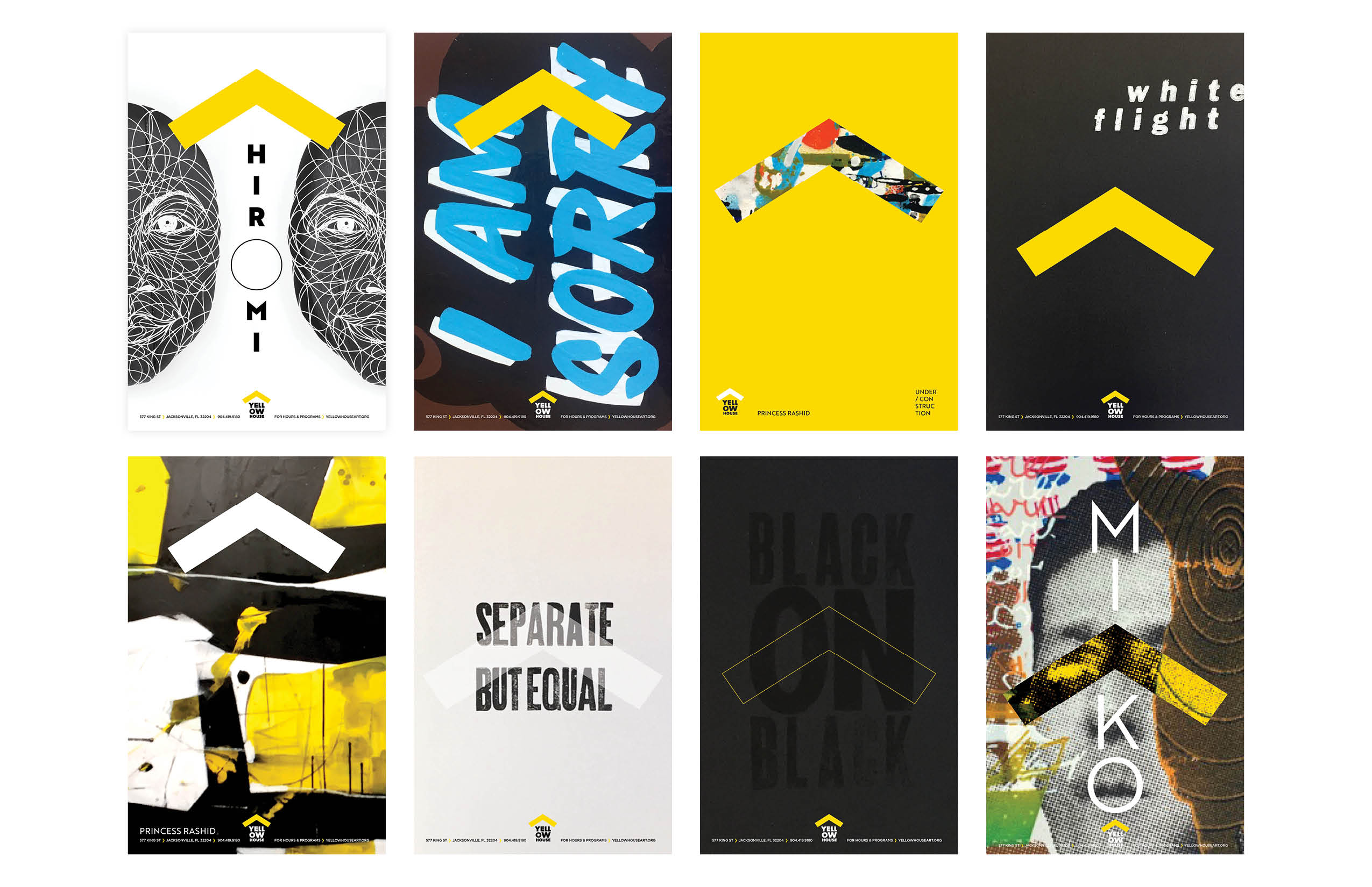 Eight poster design examples.