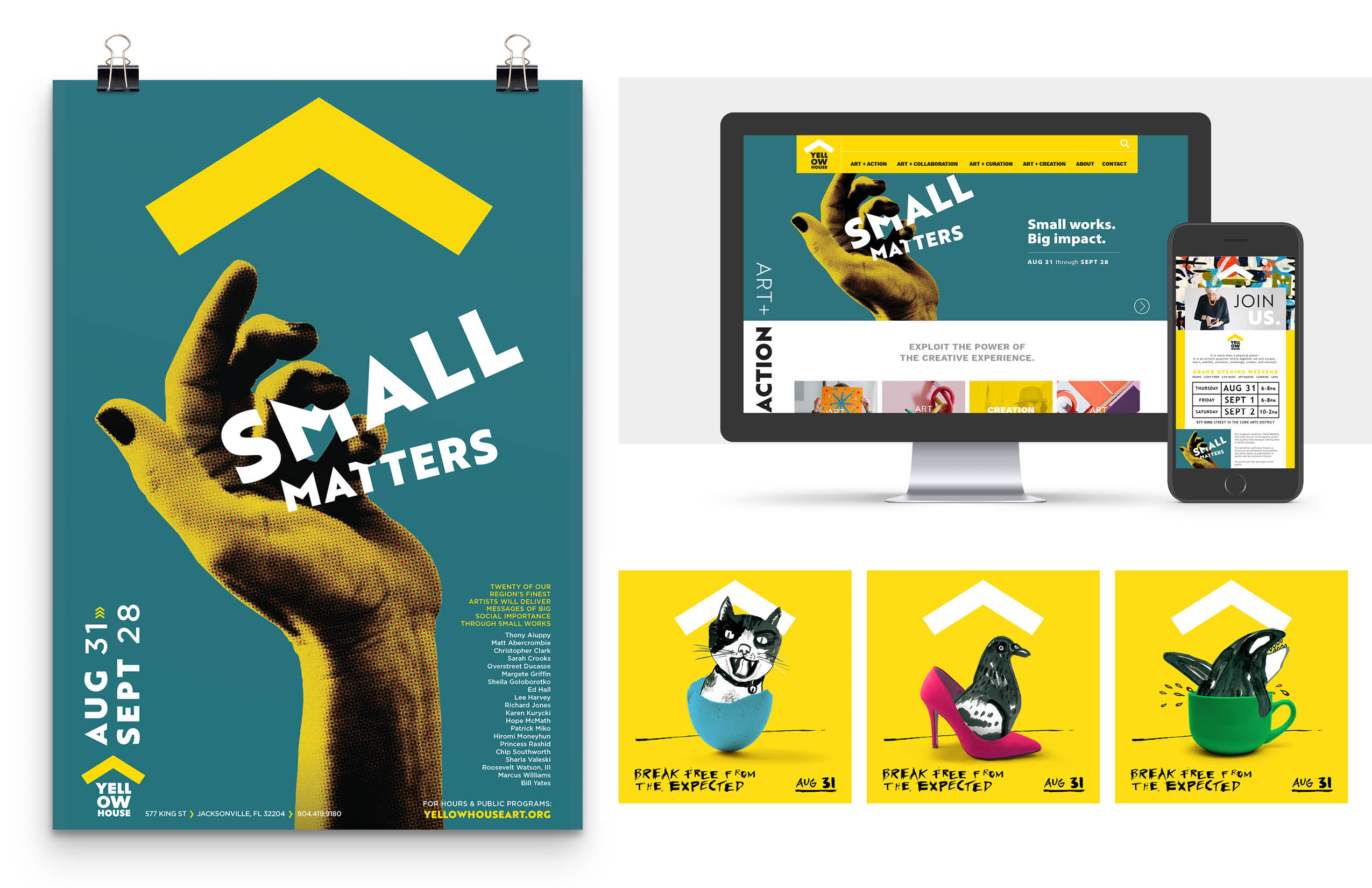 "A poster for ""Small Matters"" along with a sample website page and teaser images."