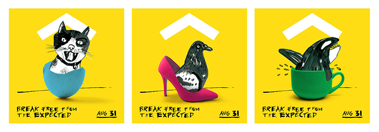 "Yellow House social media teasers with cat coming out of a an egg, bird coming out of a shoe, and whale coming out of a cup. Headline is ""Break free from the expected. Aug. 31."""
