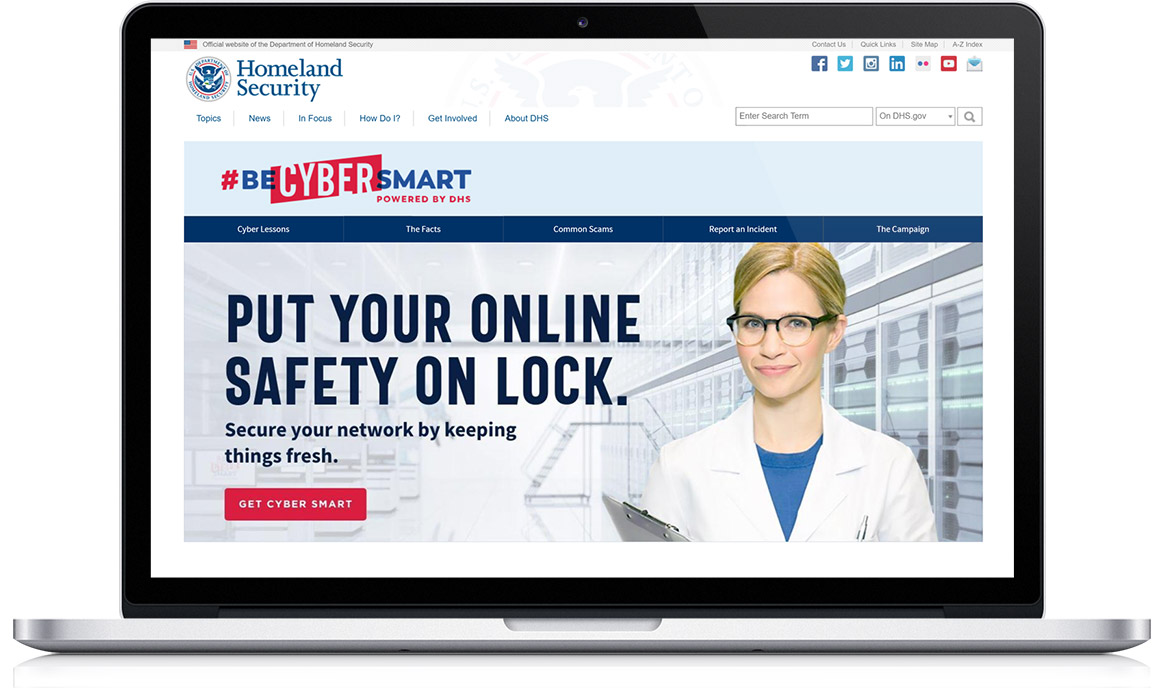 Be Cyber Smart microsite on a laptop