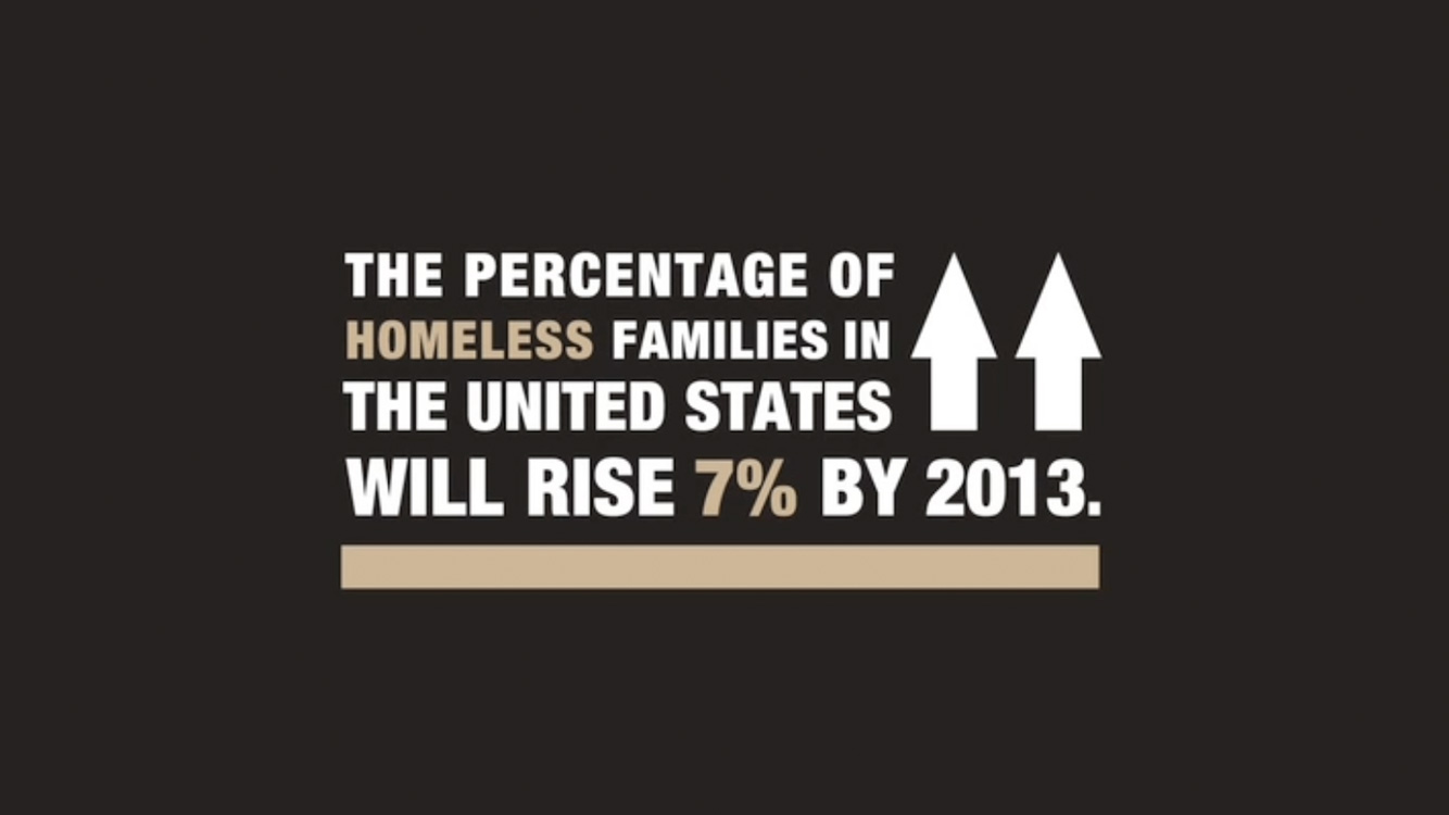 "Graphic that reads: ""The percentage of homeless families in the United States will rise 7% by 2013."""