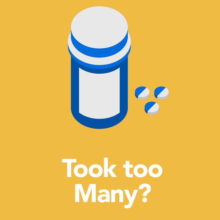 "pill bottle with the words: ""Took too Many?"""