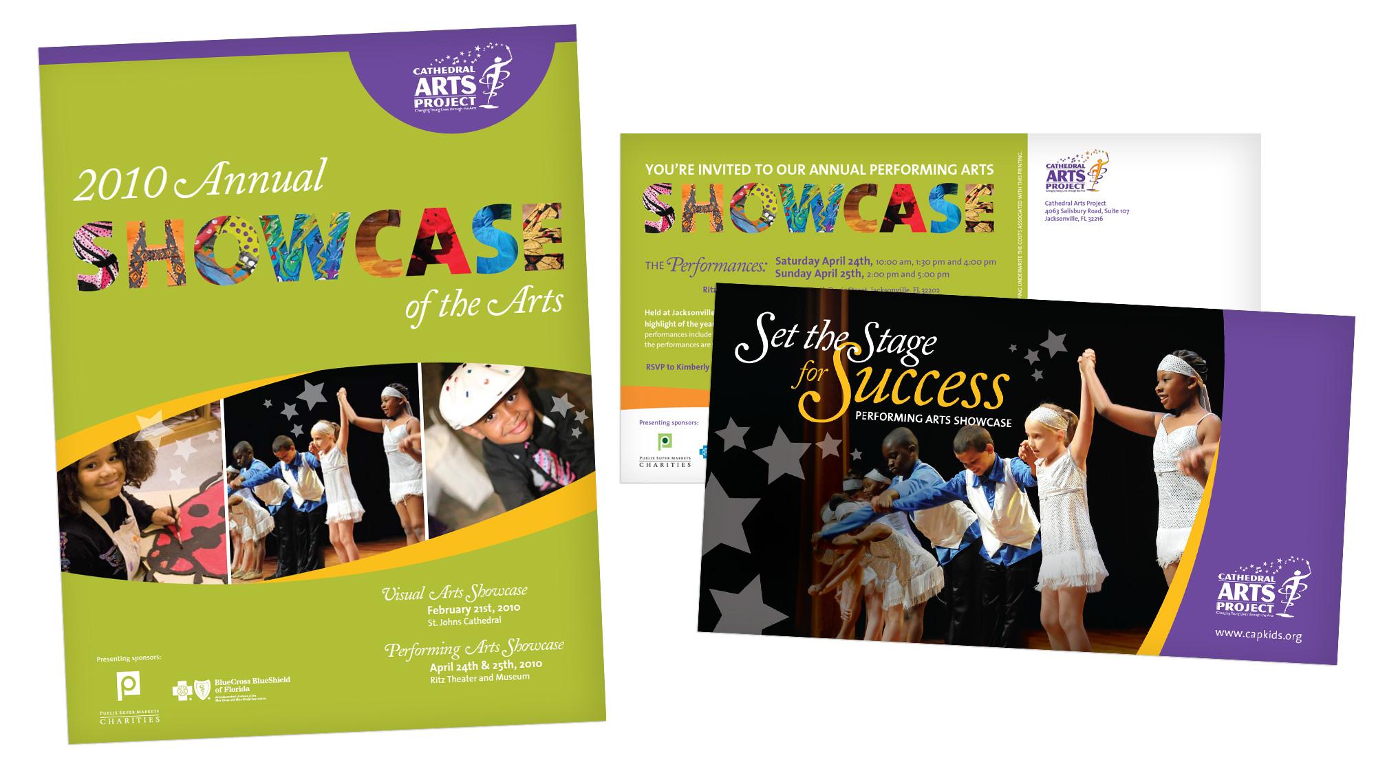 Showcase brochure and postcard