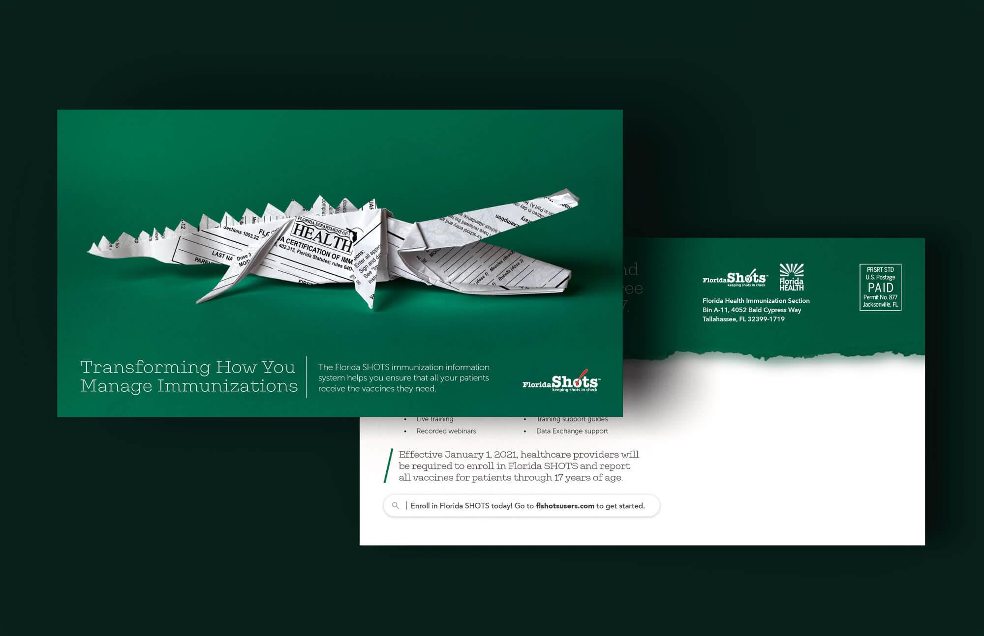 Florida SHOTS origami alligator postcard