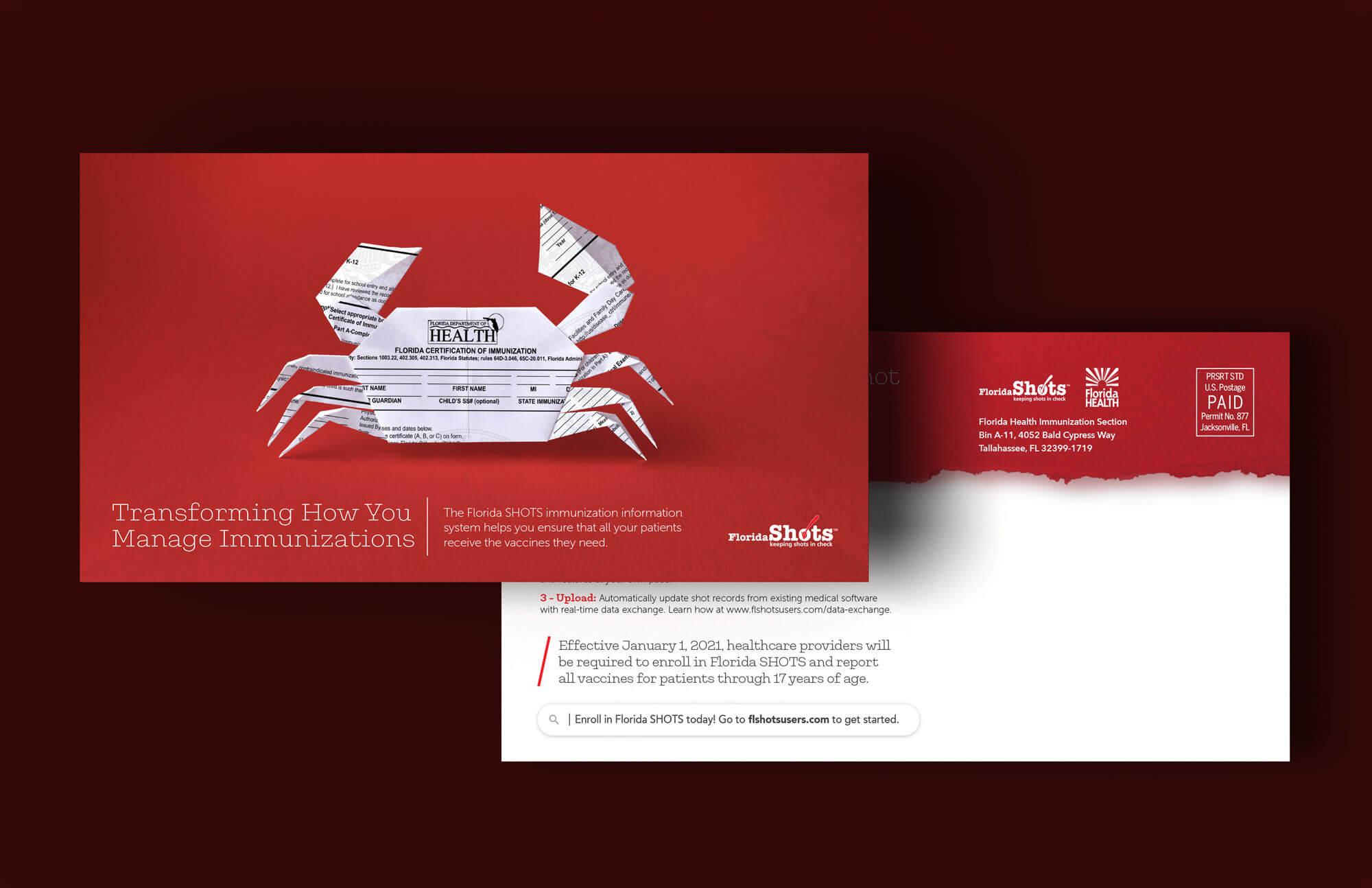 Florida SHOTS origami crab postcard